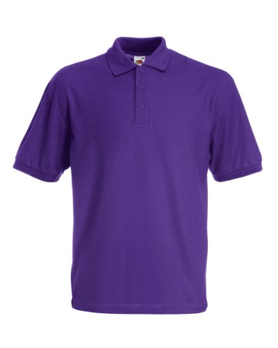 Fruit of the Loom Pique Polo Shirt SIZE S COLOUR Purple