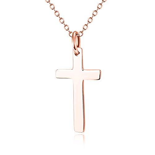 Gold Over Silver Cross (Rose Gold over Sterling Silver Cross Necklace)
