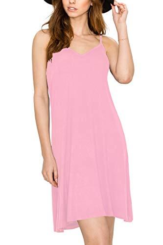Lock and Love LL WDR1090 Womens V Neck Spaghetti Strap Tunic Short Dress L -
