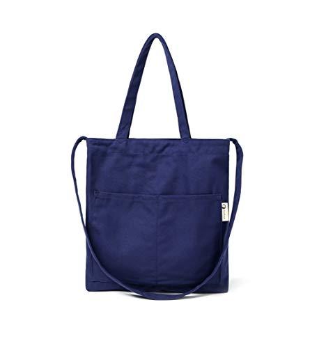 Blue Canvas Tote - Canvas Tote Bag Handbag Shoulder Bag Or Crossbody Bags Purses For Men And Women (Navy)