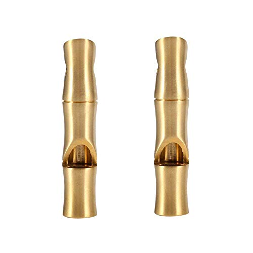 VGEBY 2Pcs Mini Survival Brass Whistles Loud Signal Whistles Bamboo Joint Whistles for Camping Hiking by VGEBY