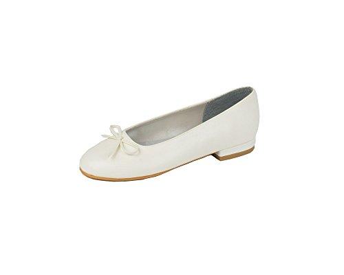 Children's Lexus 'Dolly'Ballerine Chaussures de mariée avec nœud en PU blanc ou ivoire satiné., Blanc cassé - White P.U, 28 EU enfant
