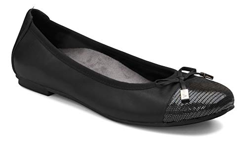 Vionic Women's Spark Minna Ballet Flat - Ladies Cap Toe Walking Flats with Concealed Orthotic Arch Support Black 12 Wide US