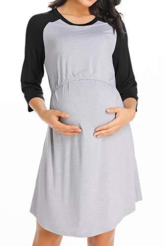 Nightie Sleepwear - Ritera Women's Maternity Nursing Nightgown Dress Soft Pregnancy Nightdress for Breastfeeding Sleepwear Nightie Black-L