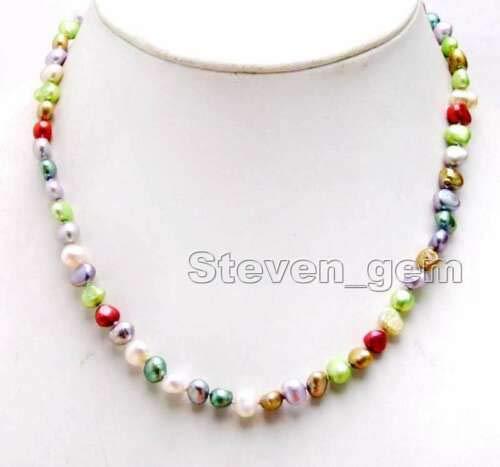 FidgetKute 6-7mm Multicolor Baroque Natural FW Pearl 17'' Chokers Necklace for Women 6246 Multi-Color #2 (Pearl Fw Necklace Baroque)