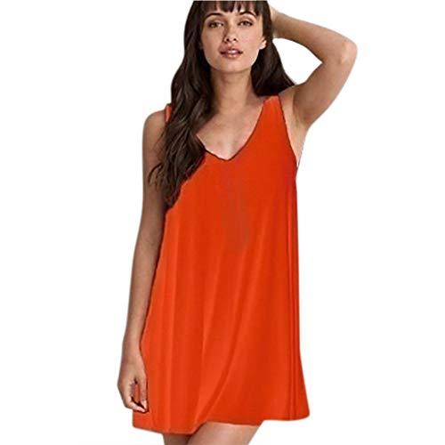 Women's T-Shirt Skirt Sleeveless Solid Color Sling Dress Large Size Summer O-Neck Casual Halter Dress MEEYA Orange