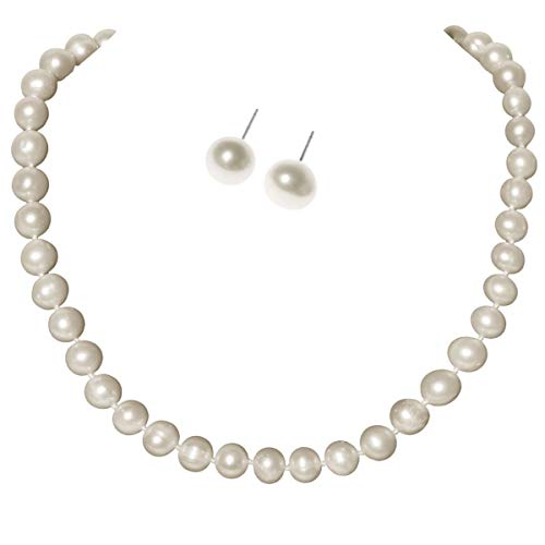YACQ 925 Sterling Silver Beige White Pearl Necklace Stud Earrings Jewelry Set Gift for Women Teen Girl (White, 18) ()
