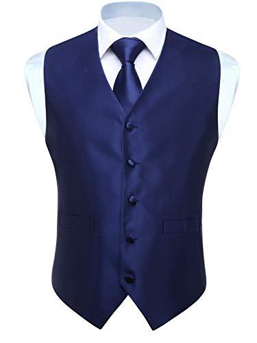 Blue Woven Vest - HISDERN 3pc Men's Solid Color Woven Dress Waistcoat & Necktie and Pocket Square Vest Suit Tuxedo Set Navy Blue