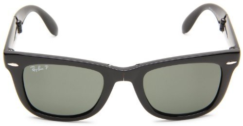 601 58 Black Polarized Crystal - New Ray Ban Folding Wayfarer RB4105 601/58 Black/Crystal Green 54mm Polarized Sunglasses