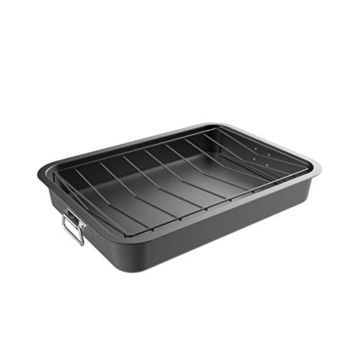 Classic Cuisine 82-KIT1106 Roasting Pan with Angled Rack-Nonstick Oven Roaster and Removable Tray-Drain Fat and Grease for Healthier Cooking-Kitchen Cookware ()