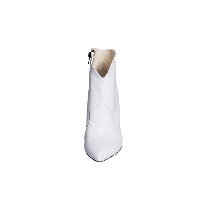 Stivaletti Tronchetti Donna In Vera Pelle Bianco Misura Taglia Numero 41 Made Italy Tacco Alto Sottile 10cm Scarpa Lindy Studio Creazioni Lbs-15 Alta Signorile Ottima Qualità
