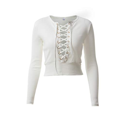 Jumpers Fashion Blanc Slim Crop Automne Femme Pulls Manches et Longues Printemps T Bandage Hauts Tee Blouse Creux Shirts Tops 7pwfqTUcxU
