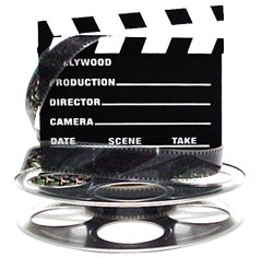 HMS Hollywood Studio Clapboard & Reel Centerpiece - Silver (Decoration Reel Film)