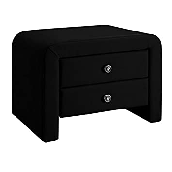 Table Chevet Design En Simili Cuir Eva Noir