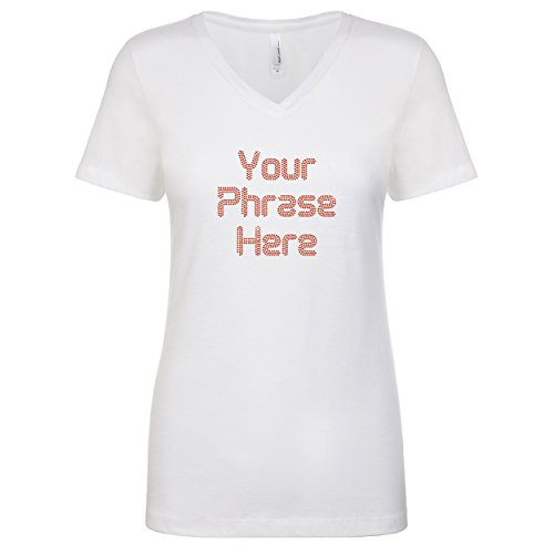Personalized Rhinestone Gem Bling Womens Tshirt Tee V-Neck Custom Three Lines White Small