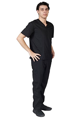 M&M SCRUBS Men Scrub Set Medical Scrub Top and Pants M Black by M&M SCRUBS