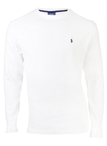 Polo Ralph Lauren Mens Long Sleeves Crew Neck Thermal- White (M) - Crew Mens Neck Thermal