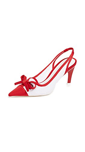 Point Slingback - Jeffrey Campbell Women's Cecily Point Toe Slingback Pumps, Red/White, 7 B(M) US