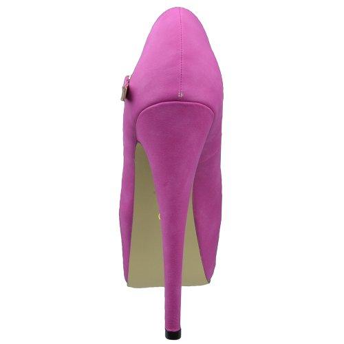 Dames Platform Schoenen Enkelbandje Gesloten Neus Stiletto Pumps Roze Roze