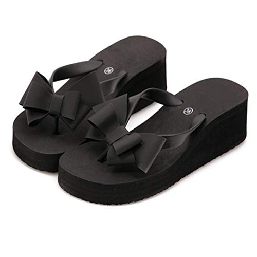 (ChyJoey Women's Cute Bowknot Wedge Flip Flops Slip On Clip Toe Summer Beach Mid Heels Platform Thong Sandal Black)