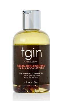 tgin Argan Replenishing and Hair Body Serum For Natural Hair - Dry Hair - Curly Hair, 4 oz (Best Oils For Sealing Hair)