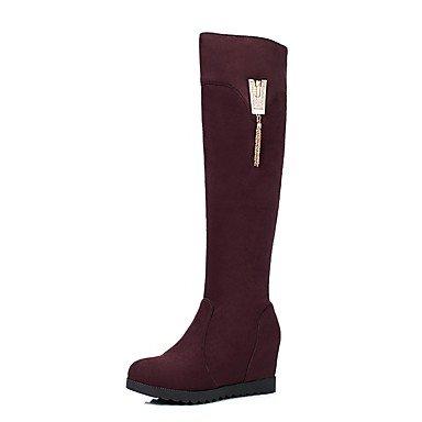Heart&M Damen Schuhe Beflockung Herbst Winter Komfort Stiefel Flacher Absatz Runde Zehe Strass Für Schwarz Grün Wein Wine Red