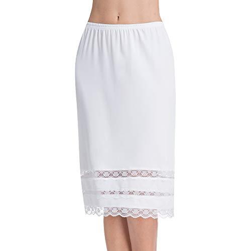 Half Slips for Women Underskirt Dress Extender Lace Trim Knee Length Midi Skirt 19-26