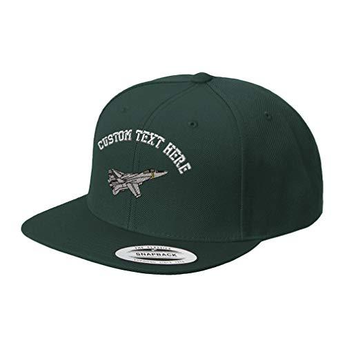 Custom Snapback Baseball Cap F-14 Tomcat Embroidery Design Acrylic Cap Snaps Spruce Green Personalized Text ()