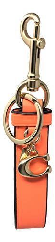 Coach Neon Leather Loop Key Chain FOB Orange F58502 (Coach Key Leather)