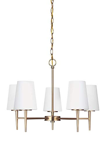 Sea Gull Lighting 3140405EN3-848 Driscoll Five-Light Chandelier with Cased Opal Etched Glass Shades, Satin Bronze Finish