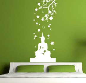 Buddha Doing Meditation Under A Tree Wall Art   Vinyl Sticker Wall Art Deco  Decal