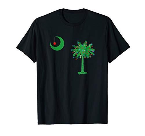 South Carolina Palmetto Tree SC Flag Christmas T-Shirt Tee (Christmas Shop Sc Greenville Tree)