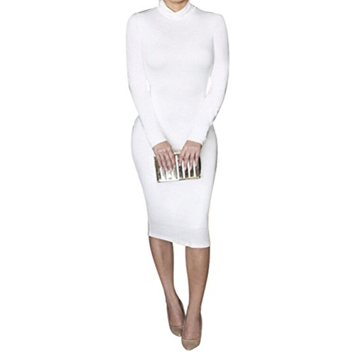 Laiyuan Women Turtleneck Long Sleeve Slim Bodycon Wrap Tunic Pencil Midi Dress L White