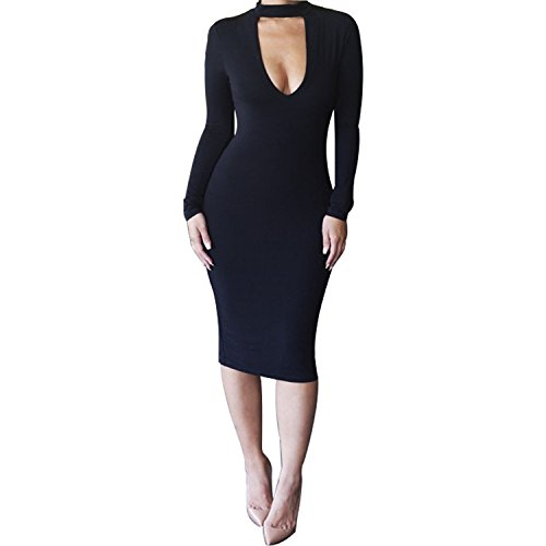 ALAIX Women's Sexy Keyhole Bodycon Long Sleeve Warm Party Night Out Pencil Midi Dress