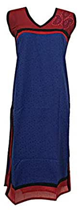 Khushi Collections Blue Cotton Round Neck Long Line Top For Women