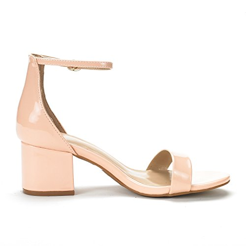 Sandals DREAM PAIRS Heel Pump Chunk Blush Pat Low Low Womens npnwSqfa