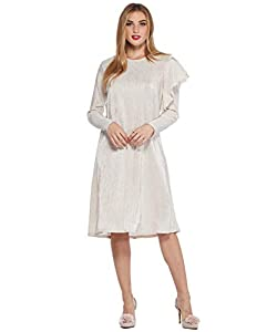 WUKOgals REIS Modest Below Knee Occasion Long Sleeve A-Line Dress with Shoulder Ruffle Detail