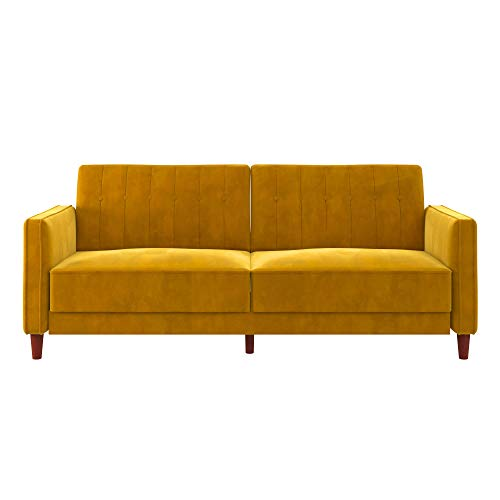 DHP Ivana Futon, Yellow (Yellow Velvet Couch)