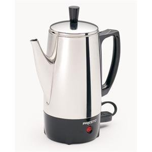 Presto, 6 Cup Stainless Steel Perk (Catalog Category: Kitchen & Housewares / Coffee Makers) by Presto