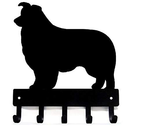 The Metal Peddler Border Collie Key Rack Dog Leash Hanger - Large 9 inch -