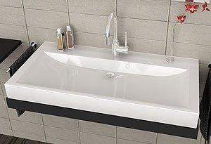 Waschbecken Aufsatzwaschbecken für das Badezimmer WC großes weißes ... | {Waschbecken design eckig 23}