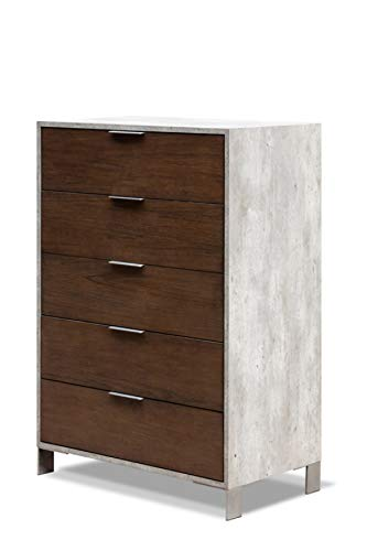 Front Laminate - Limari Home LIM-72352 Odin Collection Modern Style Faux Concrete Laminate Bedroom Chest with Oil Coated Veneer Fronts 5 Drawers, Brushed Stainless Steel Handles & Legs Gray & Dark Walnut