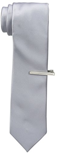 Van Heusen Men's Poly Woven Solid Slim Tie with Tie Bar, Silver, One Size (Mens Neckwear Solid)