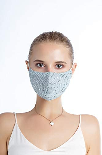 Ai-Fun 3PCS Women Fashion Adjustable Face Bandanas Glitter Sequin Reusable Face Masks Cover