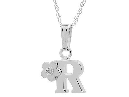 "Childrens Letter ""R"" Charm Pendant Diamond on 14 Inch Chain"