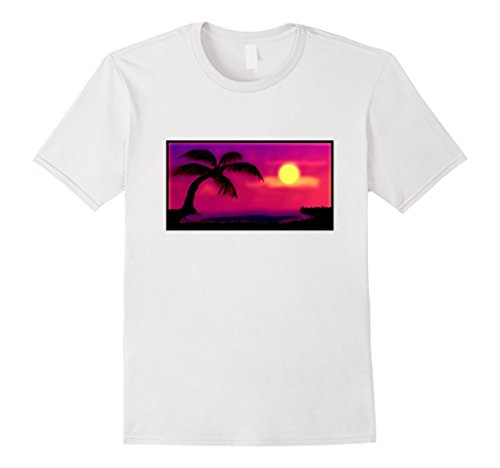 Mens Sunset Neon Glow Palm Tree Beach T Shirt Summer Scene Photo XL White (Summertime Sun Photo)
