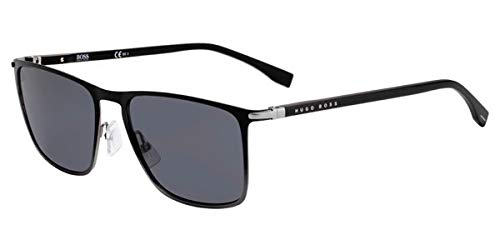 (Hugo Boss 1004/S Black Ruthenium Dark Grey/Gray Blue Lens Rectangular Sunglasses, 56mm)