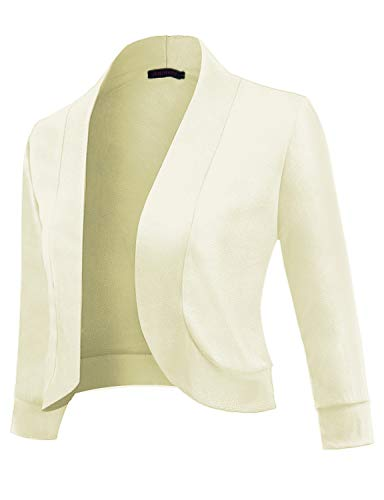 (Anmery Womens 3/4 Sleeve Cardigan Slim Fitted Cropped Open Front Women's Bolero Shrug Long Sleeve Blazer Jacket Women Professional Work Office Casual White Large)