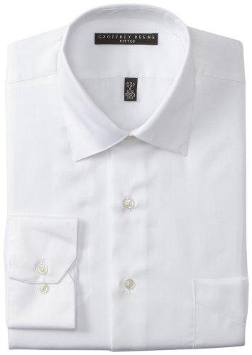 Geoffrey Beene Mens Fitted Sateen Dress Shirt  White  17 5 32 33