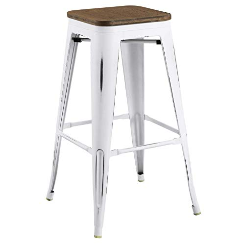 - Modway EEI-2819-WHI Promenade Modern Aluminum Backless Bistro Bar Stool with Bamboo Seat, White